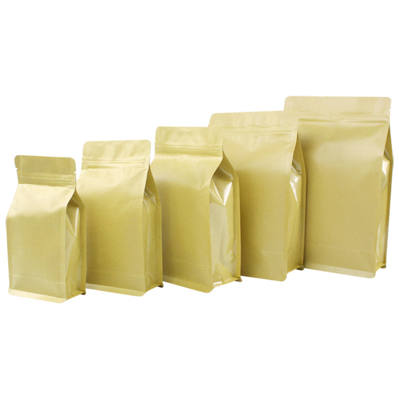 High quality white kraft paper square bottom bag f