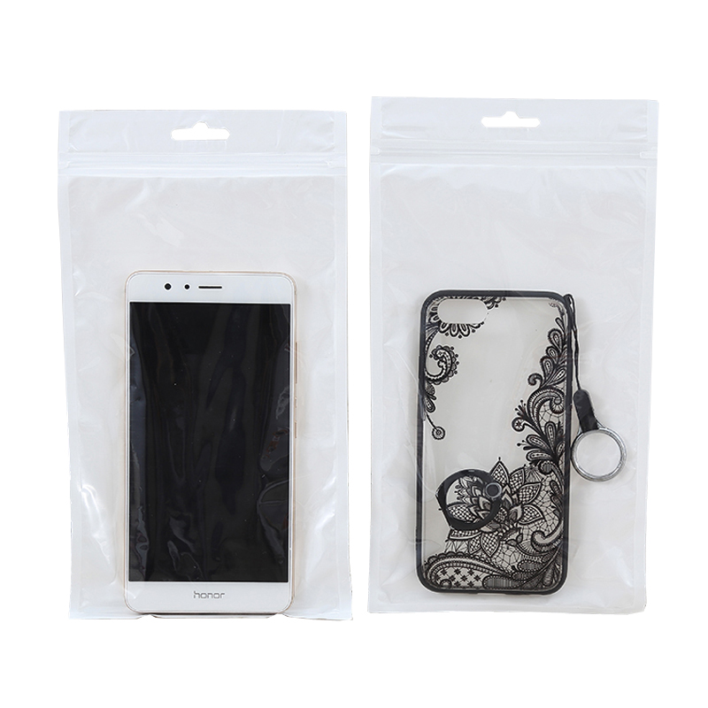 Black white glossy matte pearlized film waterproof ziplock bag for phone case