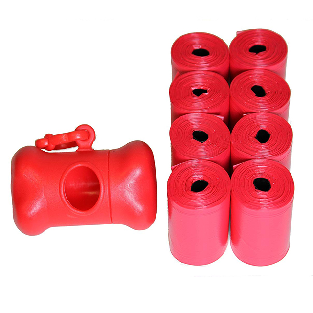 Pink pet waste dog poop bags with dispenser for do