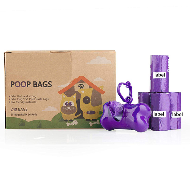 Earth-friendly biodegradable pet dog waste bags wi