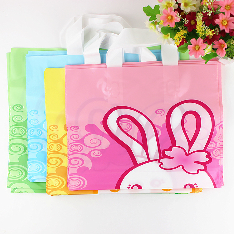 Custom plastic foldable shopping handle bags with