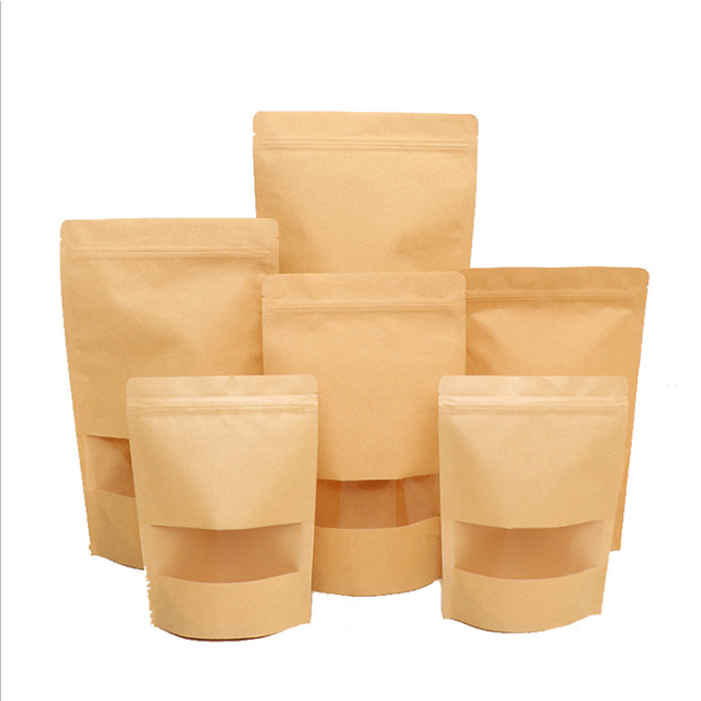 Stand up white kraft paper bag for tea with zipper packaging bag