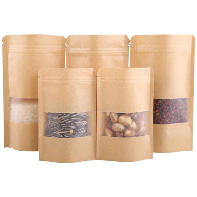 Stand up smooth kraft brown paper storage bag nuts dried fruit