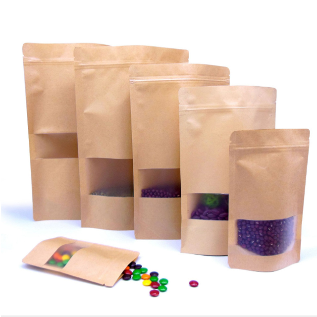 Stand up zip lock kraft paper bag packaging paper pouch