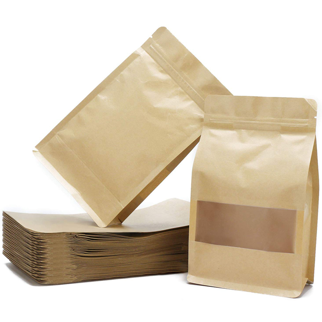 Stand up pouch reusable snack bags kraft paper bag