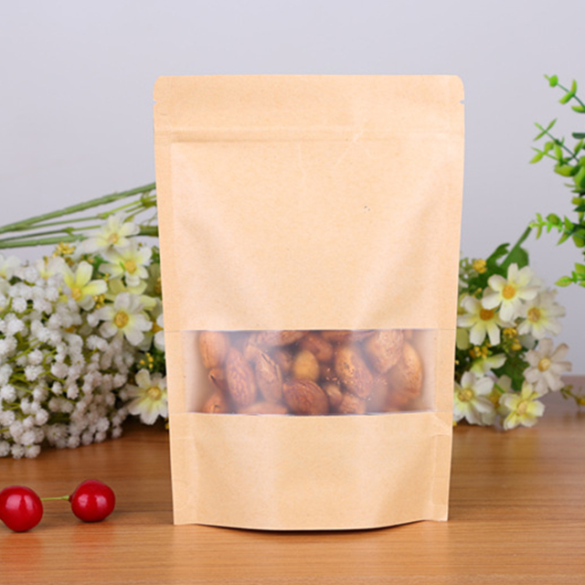 Stand up pouch reusable snack bags kraft paper bag with window and zipper