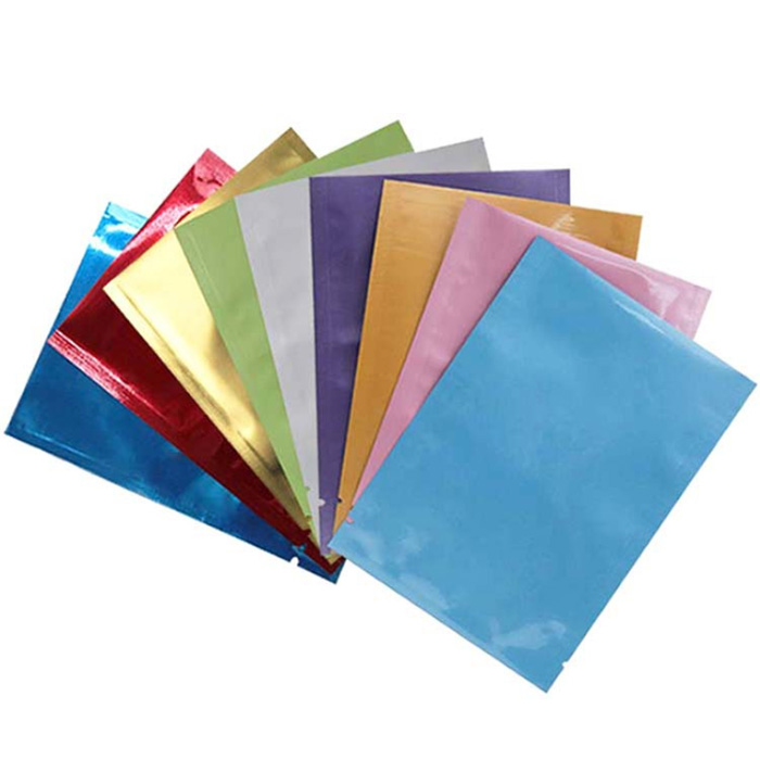 Free shipping colored food grade heat seal Aluminum foil laminated 3 side seal plastic bags with eas