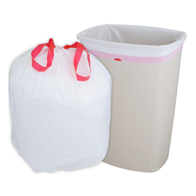Biodegradable garbage bags with drawstrings