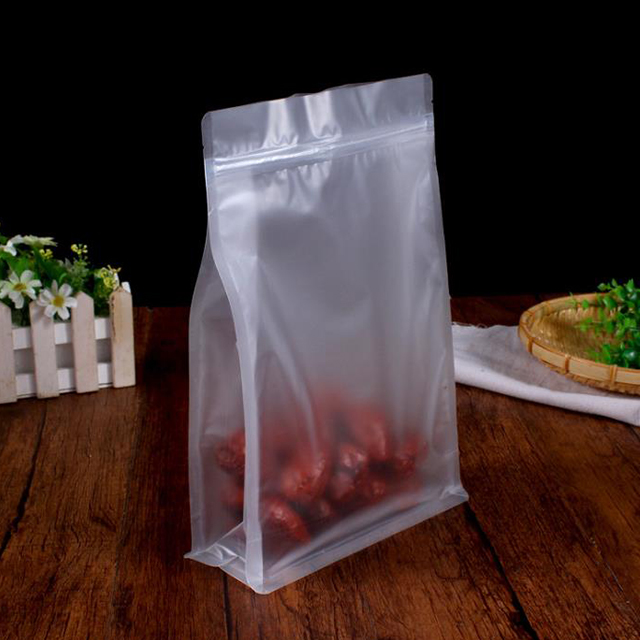 Custom clear OPP side gusset bags with square bloc